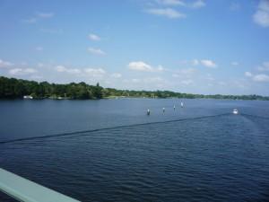 Baumgartenbrücke, zusammenfluss von Großer Zernsee, Templiner See und Schwielowsee