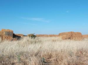 eingefallenen Lehmbauten
